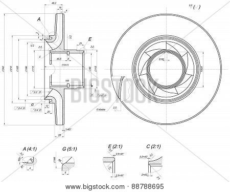 Expanded wheel sketch with blades, hatching, crowfoots, curved lines, angle degrees and numbers. Vector image poster