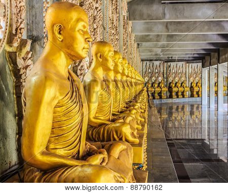 Golden Monk Statues