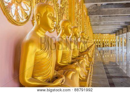 Golden Monk Statues