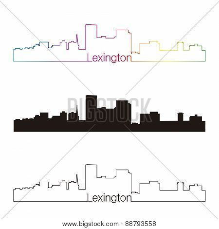 Lexington Skyline Linear Style With Rainbow