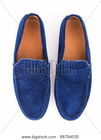 Blue Male Suede Leather Loafers Pair Isolated On White Background