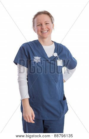 Smiling Happy Medical Assistant In Uniform
