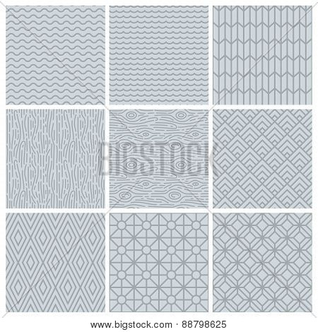 Vector Set Of Simple Mono Line Patterns