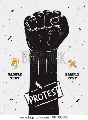 Protest poster raised fist held in protest. Vector illustration poster