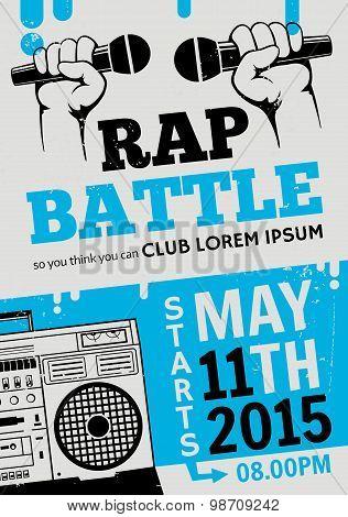 Rap Battle, Concert Hip-hop Music. Vector Template Design, Flyer, Poster, Brochure, Cover Book, Page