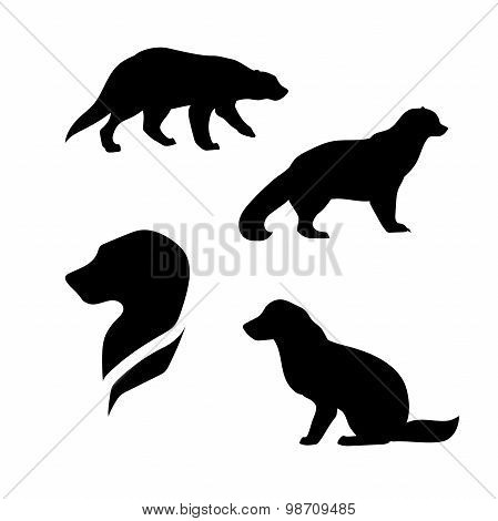Wolverine vector silhouettes.