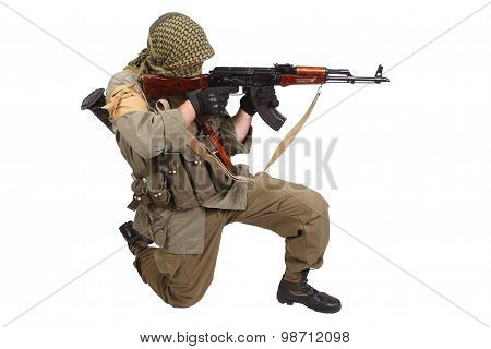 shooter with AK 47 isolated on white poster