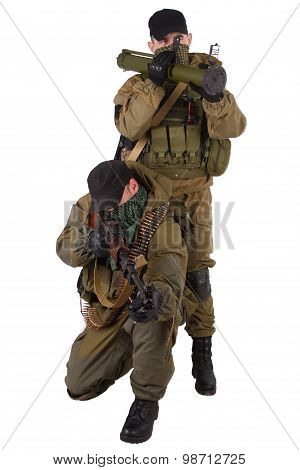 mercenaries with RPD machine gun and rocket launcher isolated on white background poster