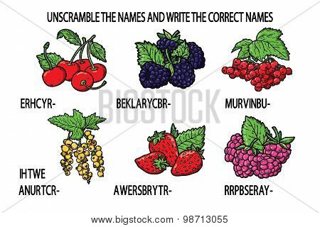 unscramble names berries game.