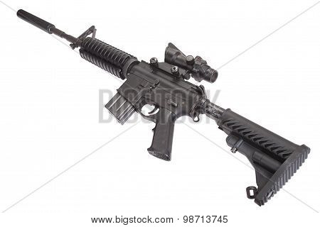 M4 rifle with silencer isolated on a white background poster