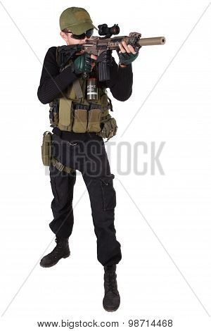 mercenary with m4 rifle isolated on white poster
