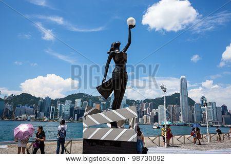 Bronze Statue Of Hong Kong Film Awards And Skyline