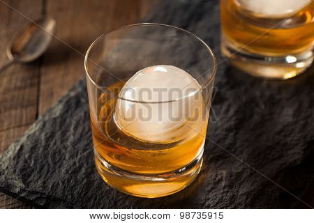 Bourbon Whiskey With A Sphere Ice Cube