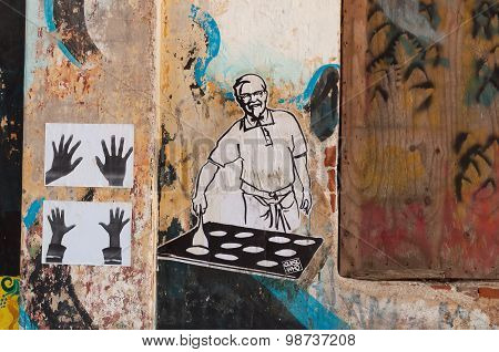 Graffiti Art On The Wall In Fort Kochi