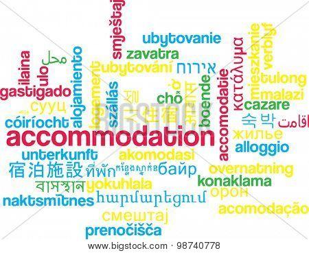 Background concept wordcloud multilanguage international many language illustration of accommodation