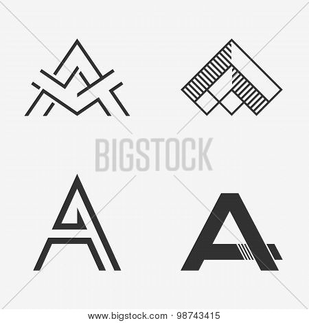 The set of letter A sign, logo, icon design template elements.