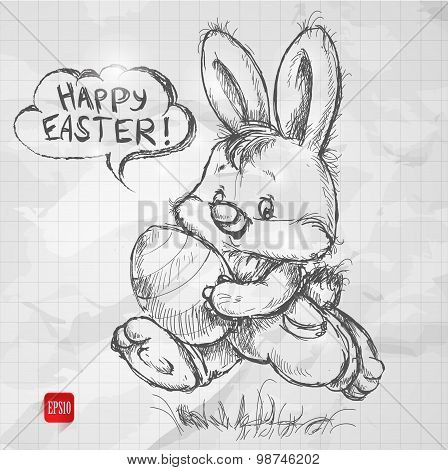 hand drawn sketch style easter bunny with egg