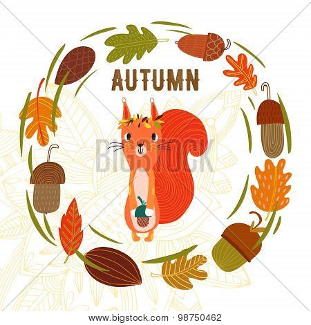 Vector Autumn Card With Wreath From Leaves And Acorns. Vintage Autumn Card With Cute Little Squirrel