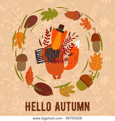Vector Autumn Card With Wreath From Leaves And Acorns. Vintage Autumn Card With Cute Fox And Text