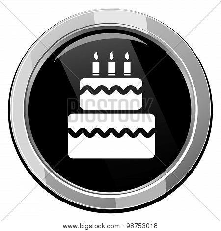 Birthday Cake Black Round Icon.