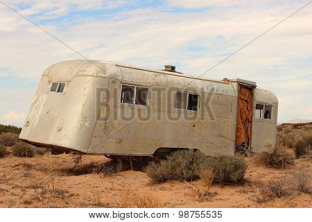 Abandoned Weathered Trailer in Sonora Desert