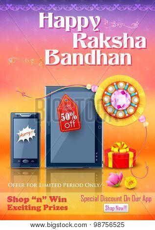 illustration of decorative rakhi for Raksha Bandhan sale promotion banner