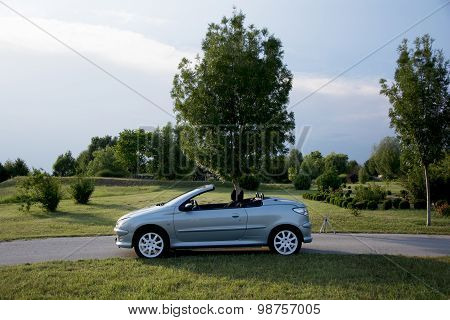 Subotica, Serbia, July 23, 2015: Photo Shooting Of A Convertible Peugeot 206 Cc Car, With Roof Down