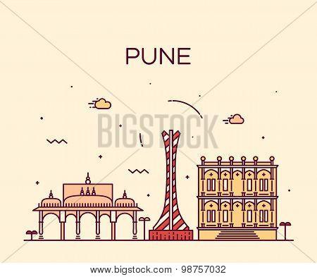 Pune skyline trendy vector illustration linear