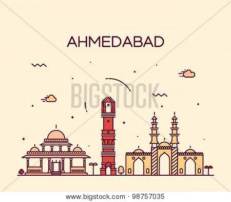 Ahmedabad skyline vector illustration linear
