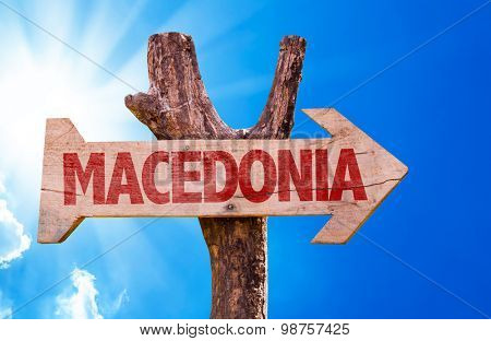 Macedonia wooden sign with sky background