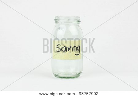 Empty Glass Money Jar With Saving Label, Financial Concept.
