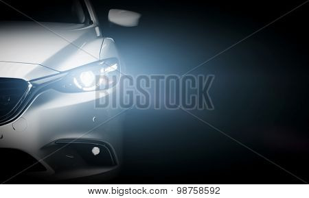 Modern luxury car close-up banner background. Concept of expensive, sports auto. poster