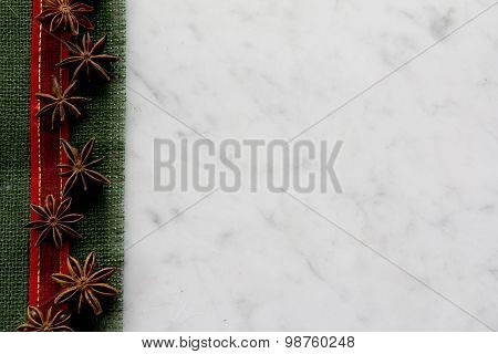 Burlap Ribbon and Aniseed Border on Marble - Horizontal