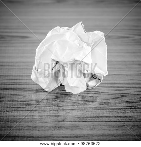 Crumpled Paper Black And White Color Tone Style