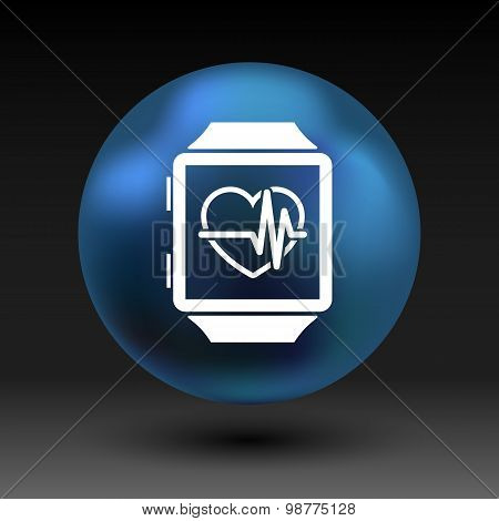 Vector illustration pulsometer heart rate monitor watch icon