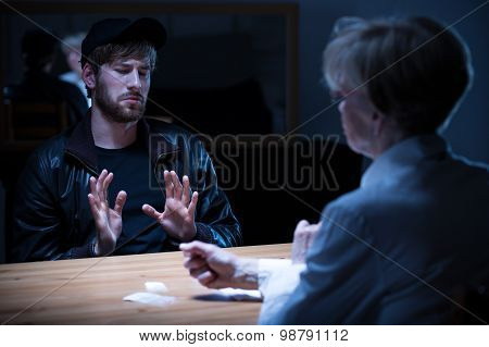 Junkie Man Interrogated By Policewoman