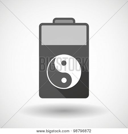 Illustration of an isolated battery icon with a ying yang poster