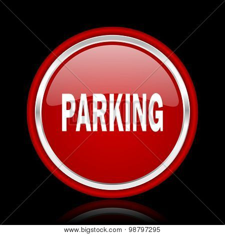 parking red glossy web icon chrome design on black background with reflection