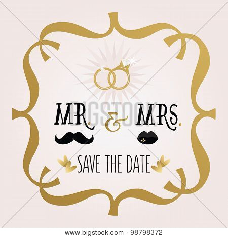 Black and golden abstract Mr. & Mrs. Save The Date wedding card