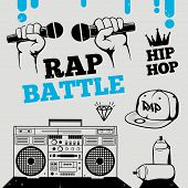 Rap battle hip-hop breakdance music design elements poster