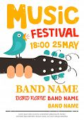 Acoustic music festival poster flyer with a bird singing on a guitar. Vector illustration poster