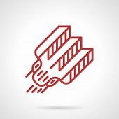Flat red line design vector icon for professional tattoo needle. Necessary supplies for tattoo master. Design elements for business and website poster