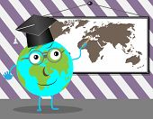 Cartoon Globe teaches geography. Education school and earth teaching and learning world planet vector graphic illustration poster