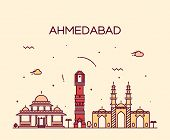 Ahmedabad skyline detailed silhouette Trendy vector illustration linear style poster