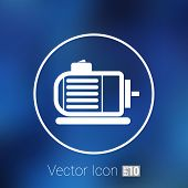 Electric motor icon vector engine symbol power. poster