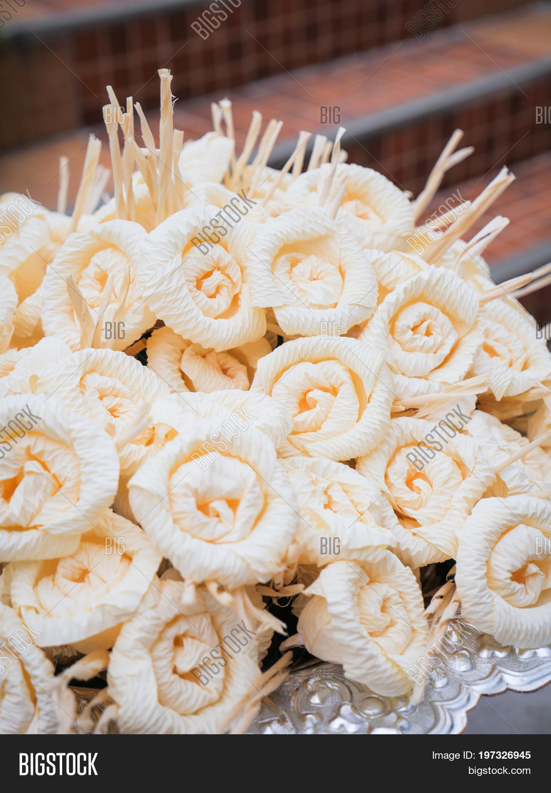 Dok mai chan thai image photo free trial bigstock thai artificial flowers used during a funeral kind of wood flower izmirmasajfo
