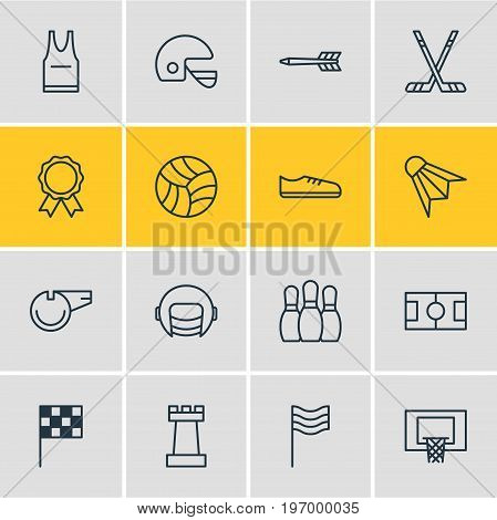 Editable Pack Of Basketball, Blower, Finish And Other Elements.  Vector Illustration Of 16 Fitness Icons.