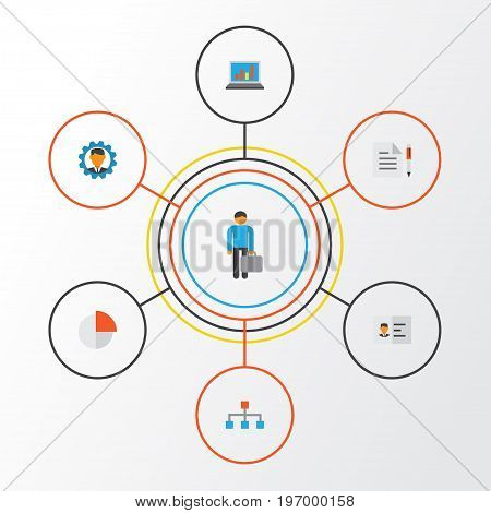Business Flat Icons Set. Collection Of Hierarchy, Developer, Identification And Other Elements