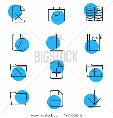 Editable Pack Of Template, Plus, Done And Other Elements.  Vector Illustration Of 12 Office Icons.