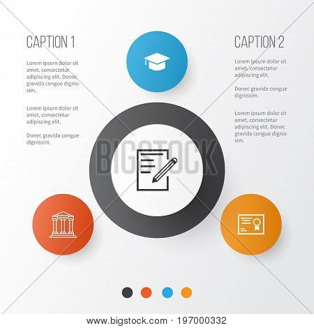 Education Icons Set. Collection Of College, Paper, Certificate And Other Elements